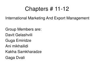 Chapters # 11-12