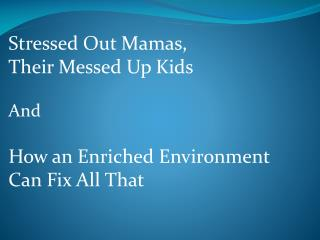 Stressed Out Mamas, Their Messed Up Kids And How an Enriched Environment Can Fix All That