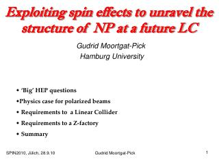 Exploiting spin effects to unravel the structure of  NP at a future LC