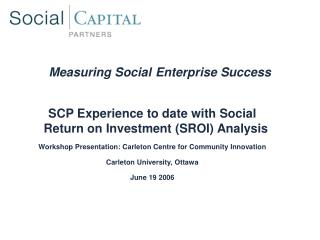 Measuring Social Enterprise Success