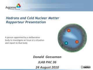 Hadrons and Cold Nuclear Matter Rapporteur Presentation