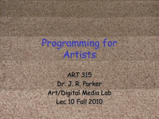 Programming for Artists