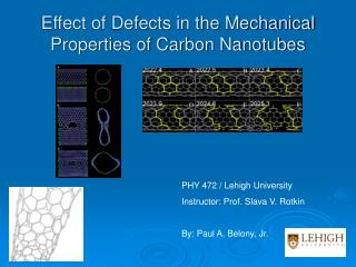 Effect of Defects in the Mechanical Properties of Carbon Nanotubes