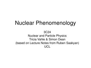 Nuclear Phenomenology