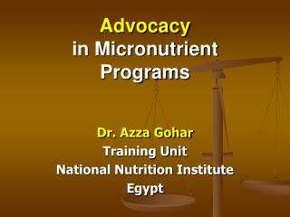Advocacy  in Micronutrient Programs