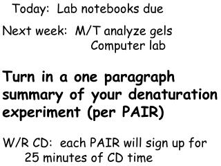 Today:  Lab notebooks due