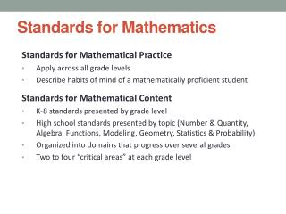 Standards for Mathematics