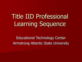 Title IID Professional Learning Sequence