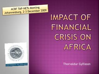 Impact of Financial Crisis on  africa