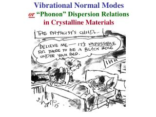 "Vibrational Normal Modes or ""Phonon"" Dispersion Relations in Crystalline Materials"
