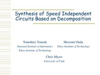 Synthesis of Speed Independent Circuits Based on Decomposition
