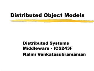 Distributed Object Models