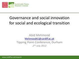 Governance and social innovation for social and ecological transition