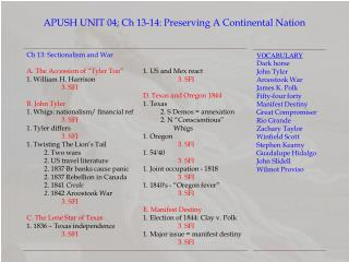 APUSH UNIT  04; Ch 13-14:  Preserving A Continental Nation