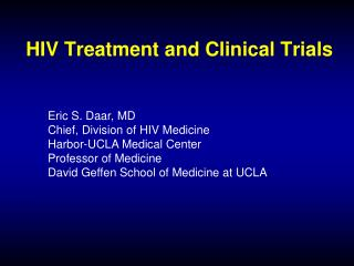 HIV Treatment and Clinical Trials