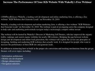 Increase The Performance Of Your B2b Website With Wakefly\'s