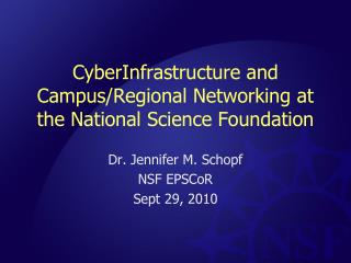 CyberInfrastructure and Campus/Regional Networking at the National Science Foundation