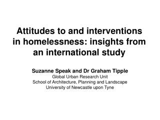 Attitudes to and interventions in homelessness: insights from an international study