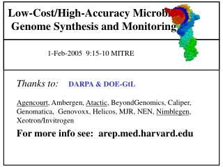Low-Cost/High-Accuracy Microbial Genome Synthesis and Monitoring
