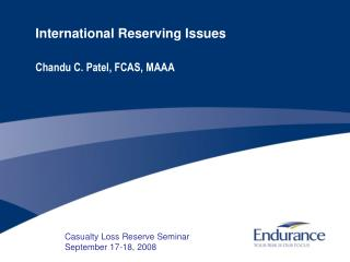 International Reserving Issues