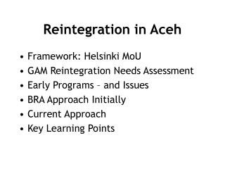 Reintegration in Aceh