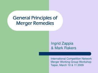 General Principles of Merger Remedies