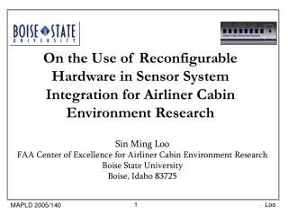 Sin Ming Loo FAA Center of Excellence for Airliner Cabin Environment Research