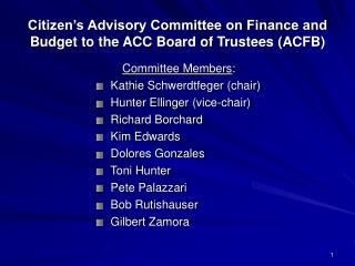 Citizen's Advisory Committee on Finance and Budget to the ACC Board of Trustees (ACFB)
