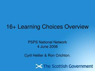 16+ Learning Choices Overview