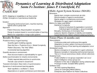 Dynamics of Learning & Distributed Adaptation