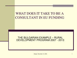 WHAT DOES IT TAKE TO BE A CONSULTANT IN EU FUNDING