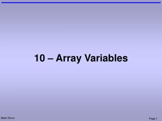 10 – Array Variables