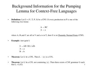 Background Information for the Pumping Lemma for Context-Free Languages