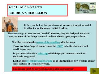 Year 11 GCSE Set Texts BOUDICA'S REBELLION