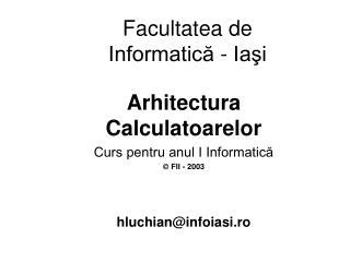 Facultatea de Informatică - Iaşi