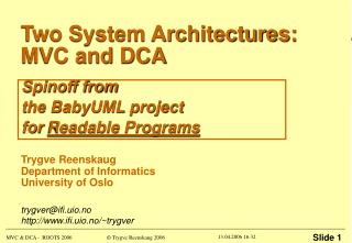 Two System Architectures: MVC and DCA