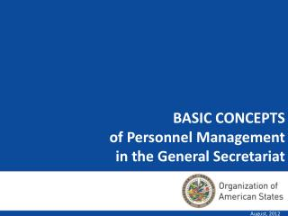BASIC CONCEPTS  of Personnel Management  in the General Secretariat