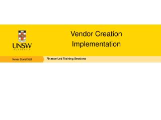 Vendor Creation  Implementation