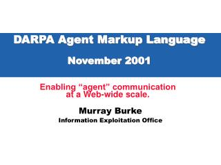 DARPA Agent Markup Language November 2001