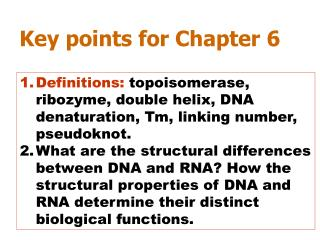 Key points for Chapter 6