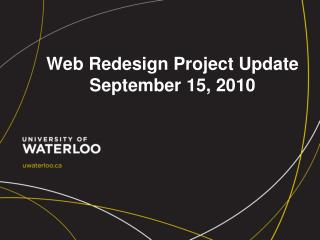 Web Redesign Project Update September 15, 2010