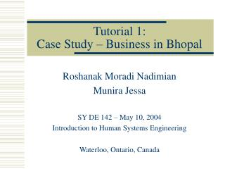 Tutorial 1: Case Study – Business in Bhopal