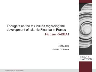 Thoughts on the tax issues regarding the development of Islamic Finance in France