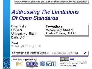 Addressing The Limitations  Of Open Standards