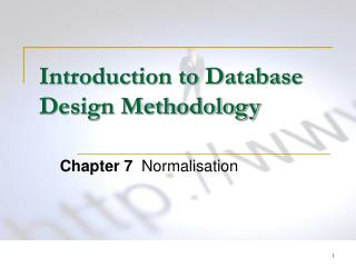Introduction to Database Design Methodology