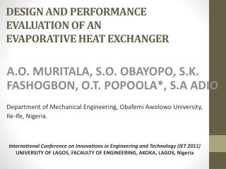 DESIGN AND PERFORMANCE  EVALUATION  OF AN  EVAPORATIVE  HEAT EXCHANGER