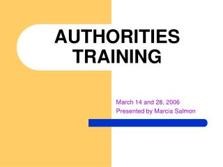 AUTHORITIES TRAINING