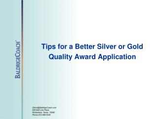 Tips for a Better Silver or Gold Quality Award Application
