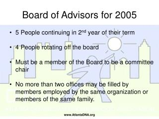 Board of Advisors for 2005