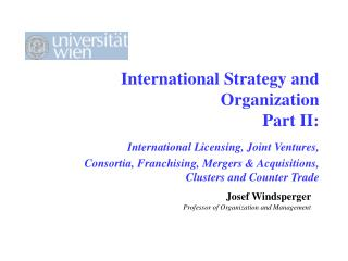 Josef Windsperger Professor of Organization and Management